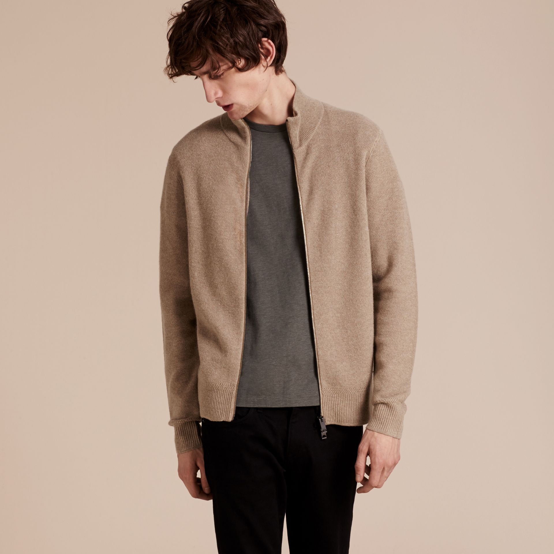 Stone Zip Front Wool Cashmere Cardigan Stone - gallery image 6