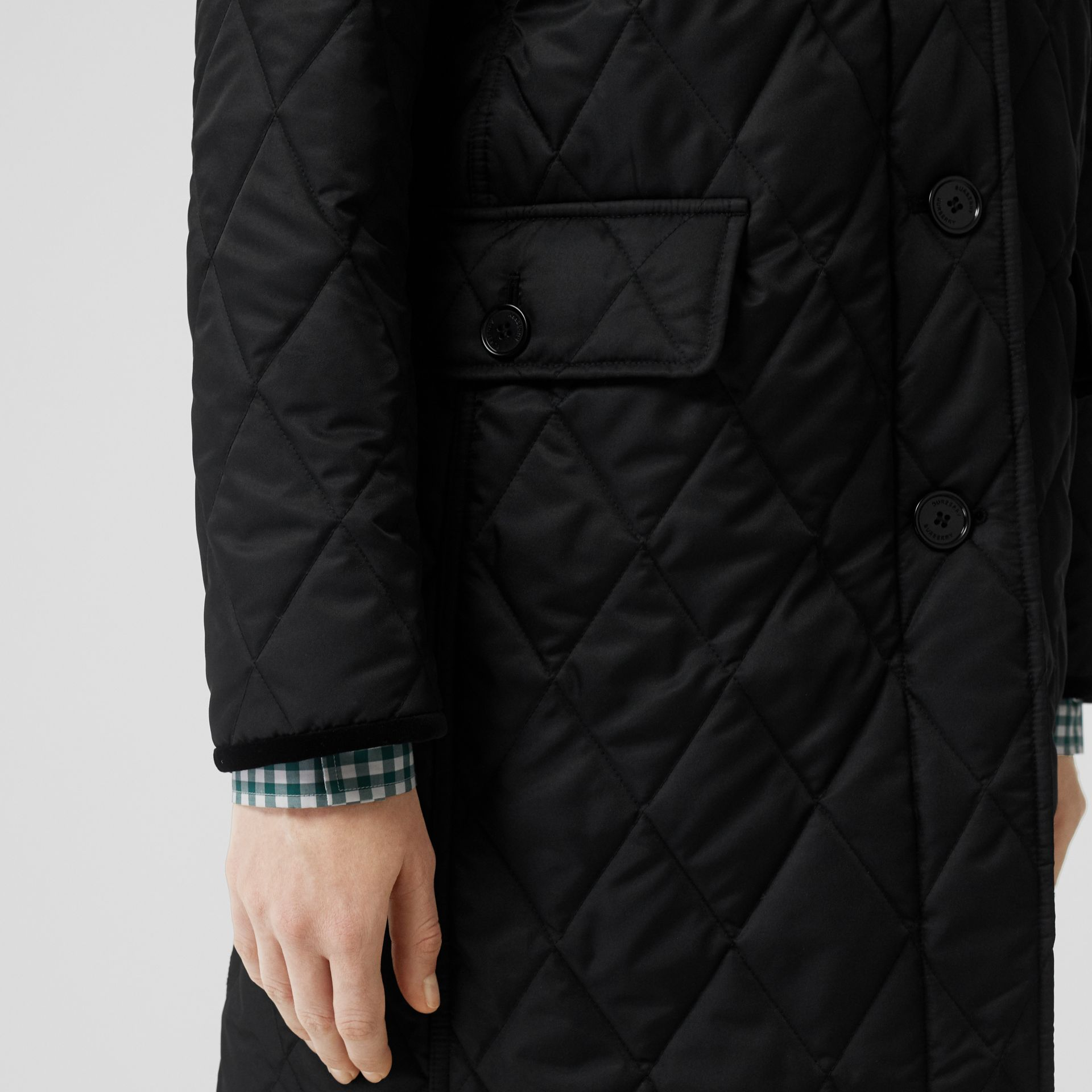 Detachable Hood Monogram Motif Quilted Coat in Black - Women | Burberry - gallery image 4