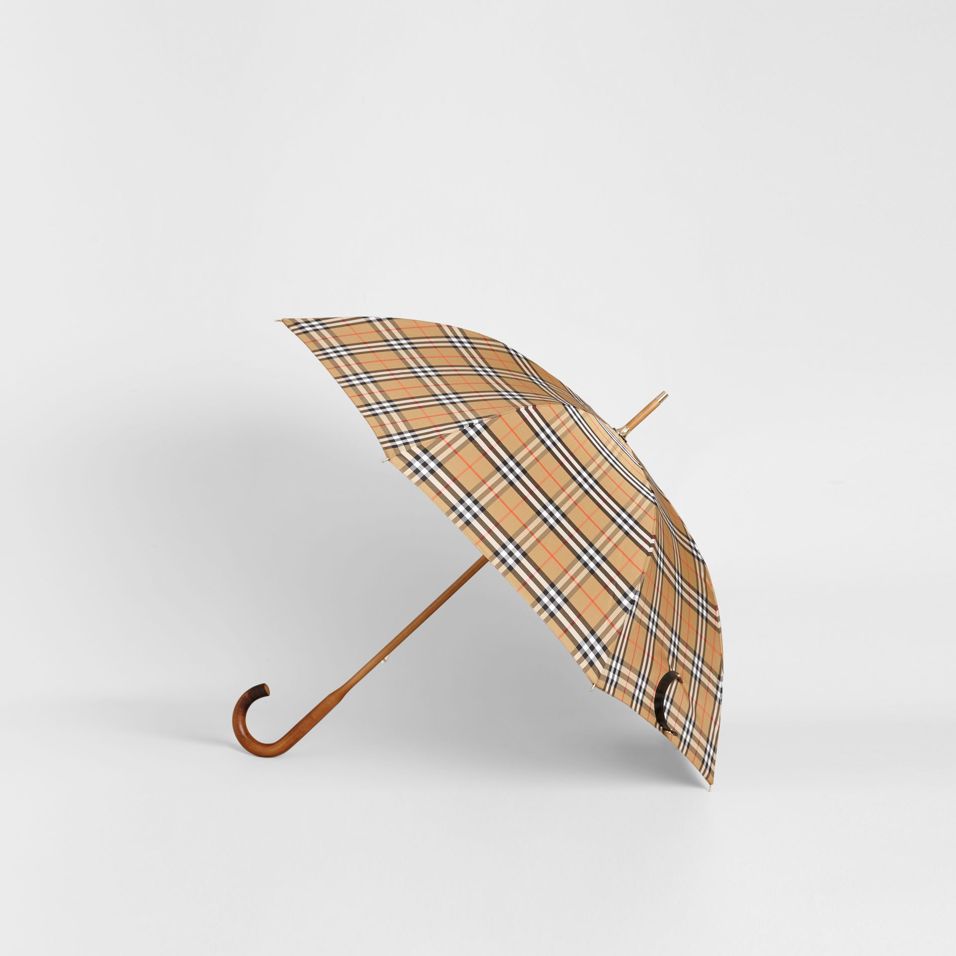 Vintage Check Walking Umbrella in Antique Yellow | Burberry - gallery image 4