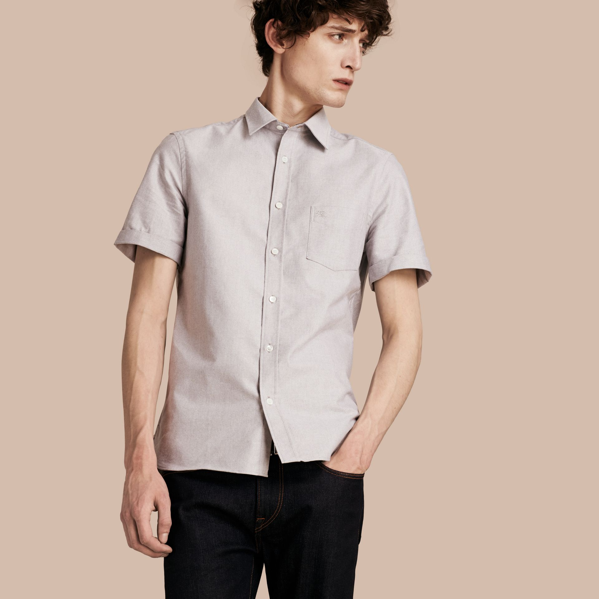 Charcoal Check Detail Short-Sleeved Cotton Oxford Shirt - gallery image 1