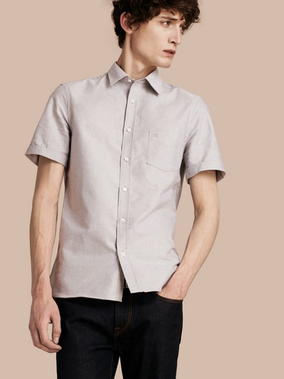 Check Detail Short-Sleeved Cotton Oxford Shirt in Charcoal
