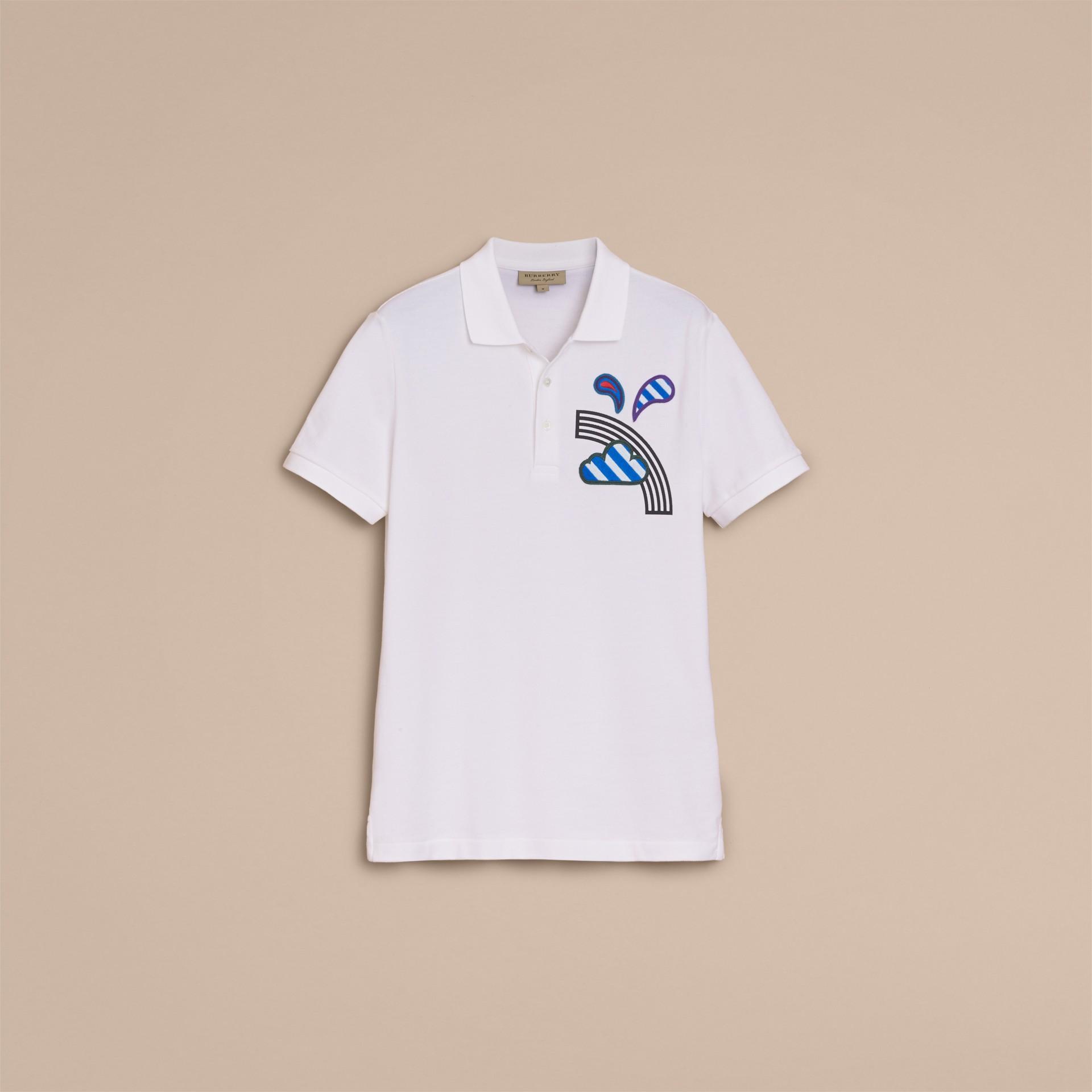 Weather Appliqué Cotton Piqué Polo Shirt White - gallery image 4