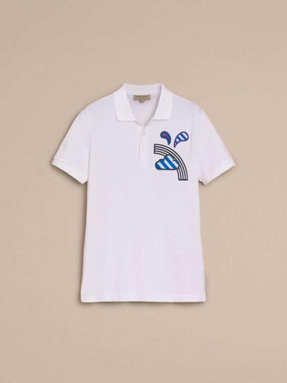 Weather Appliqué Cotton Piqué Polo Shirt White - cell image 3
