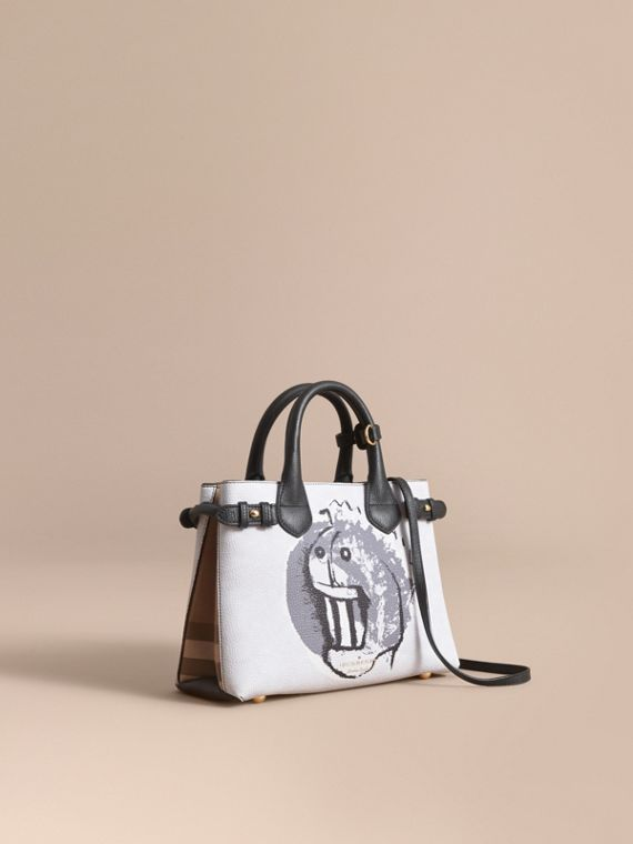 The Small Banner in Leather with Pallas Heads Print - Women | Burberry Australia