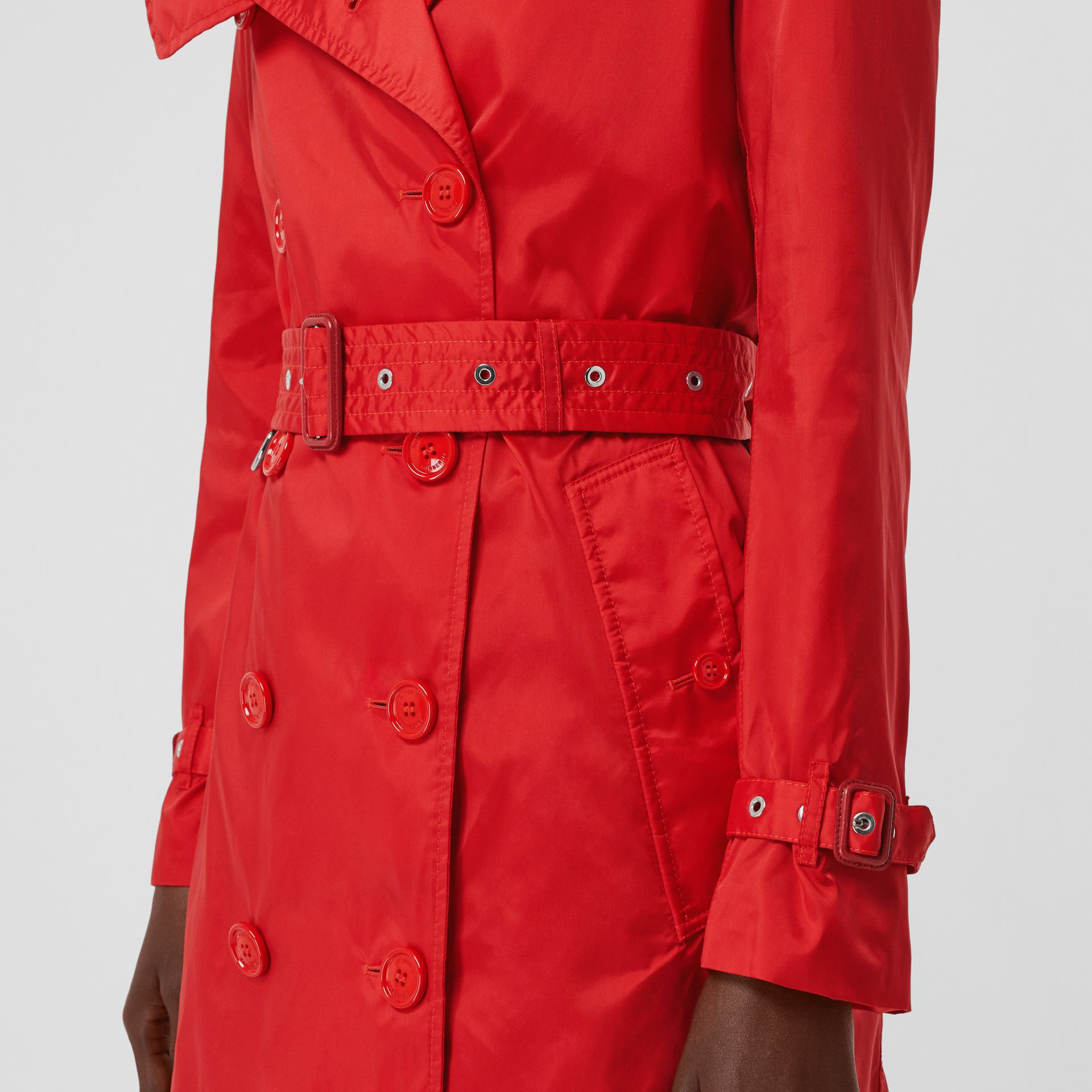 Detachable Hood ECONYL® Trench Coat in Bright Red - Women | Burberry United Kingdom - gallery image 4