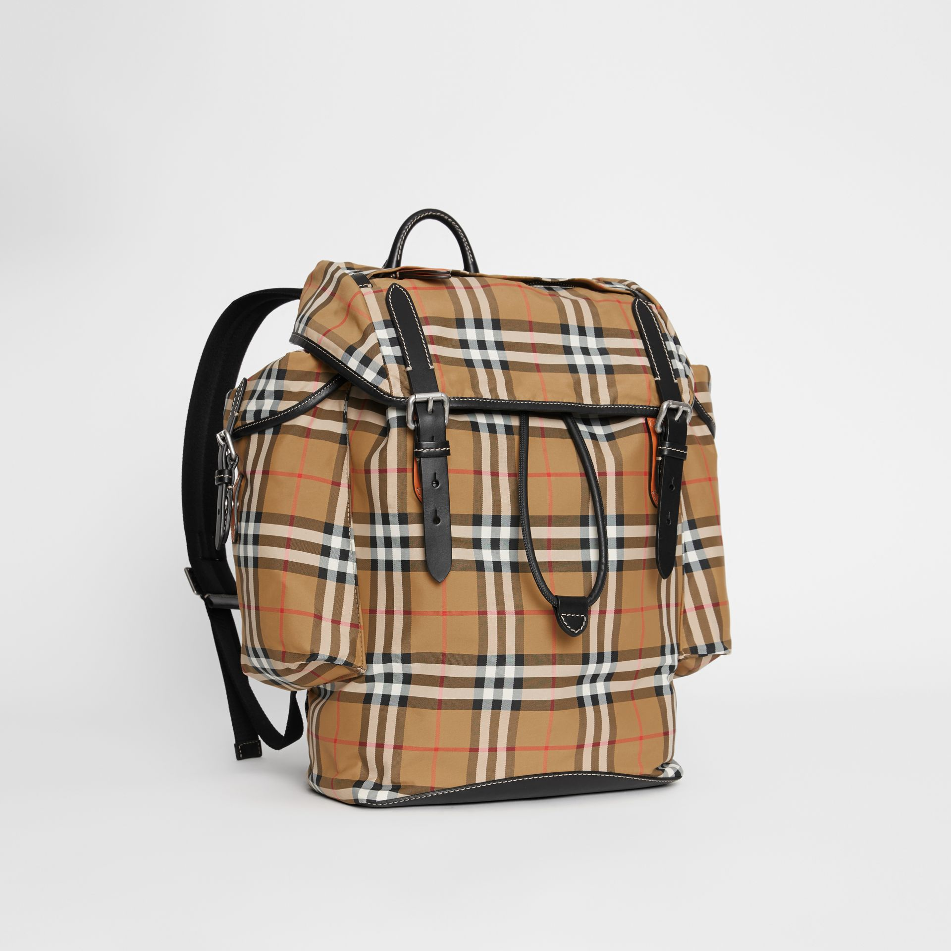 Vintage Check and Leather Backpack in Antique Yellow - Men | Burberry United Kingdom - gallery image 6