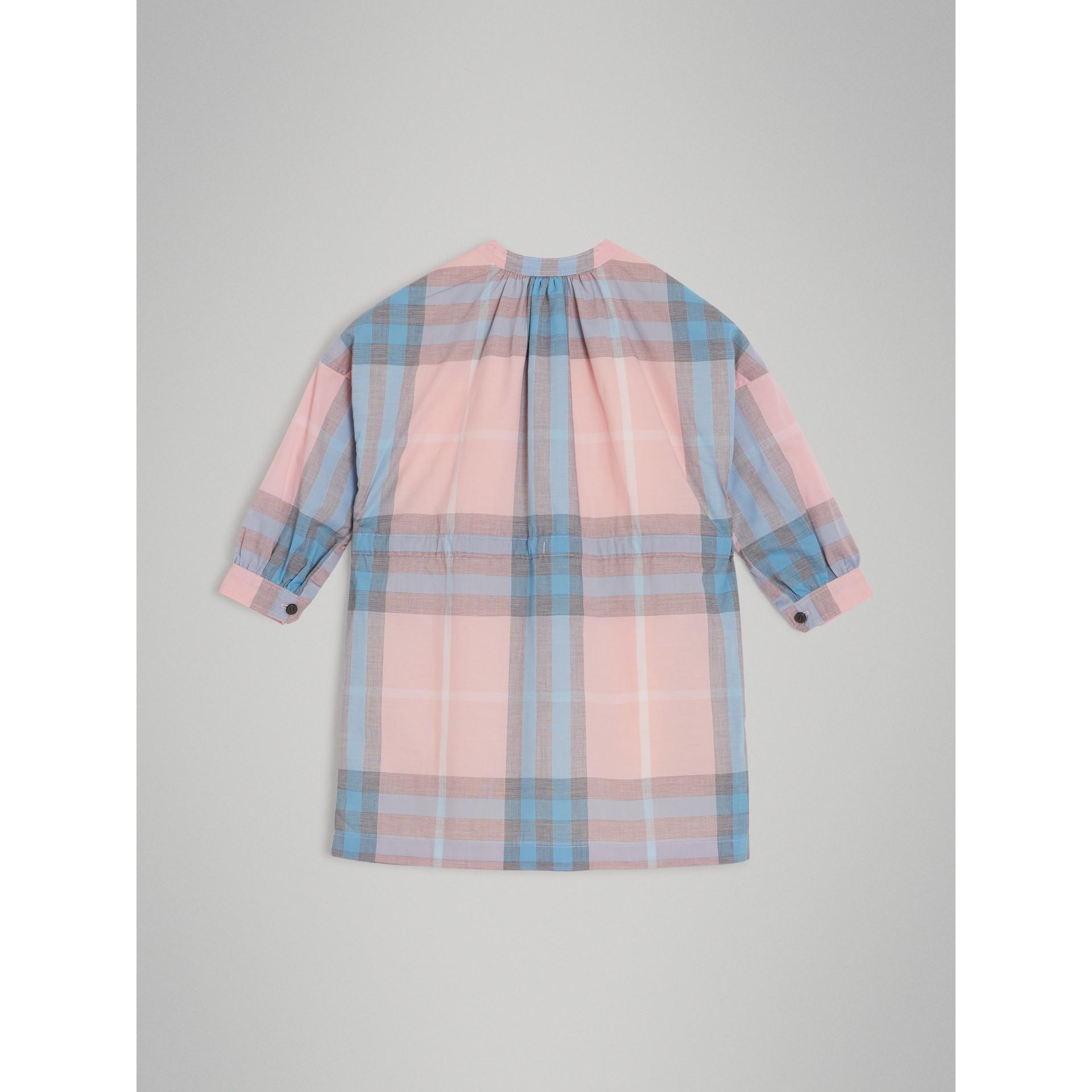 Vestido estilo camisa de algodão com estampa xadrez (Rosa Gelo) | Burberry - galeria de imagens 3