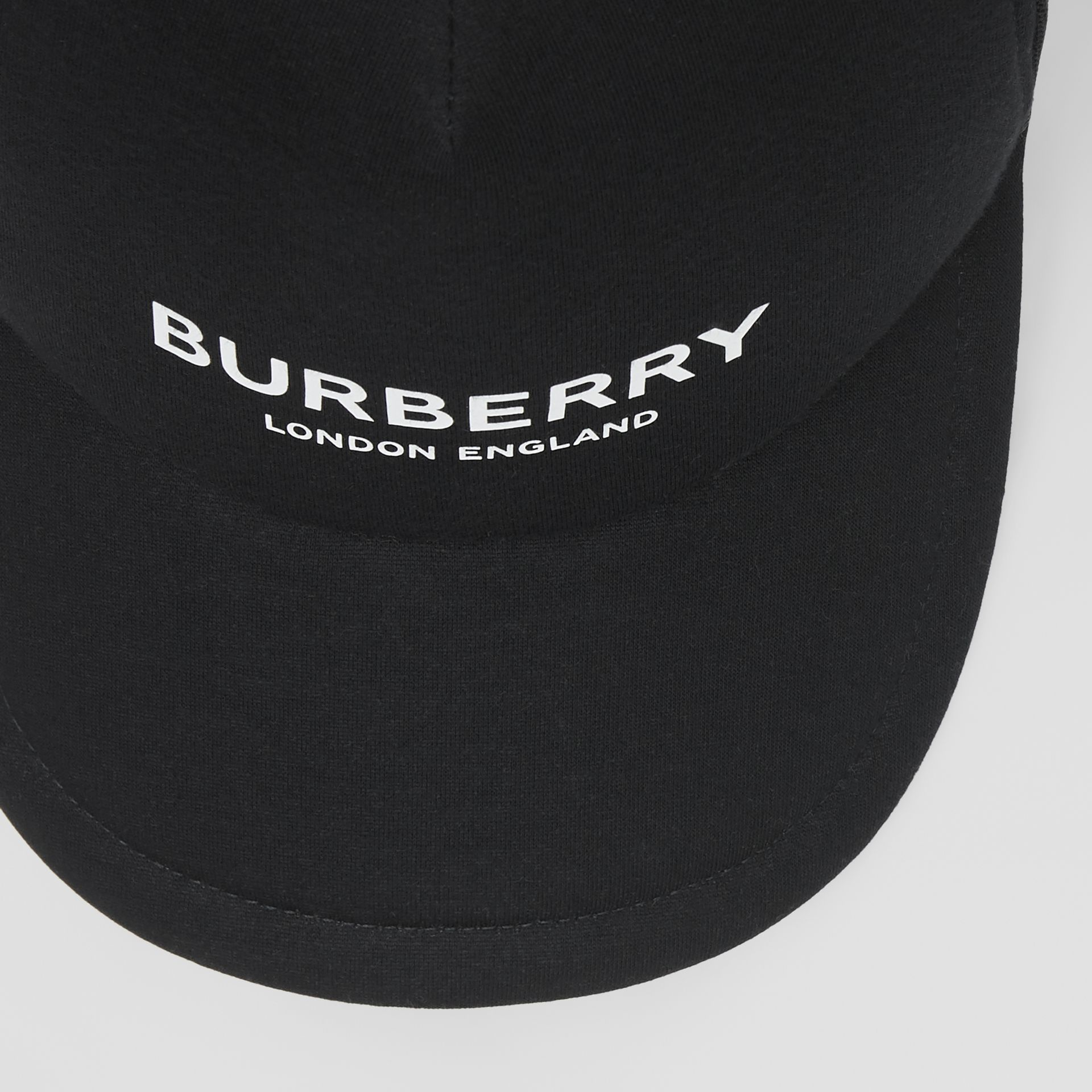 Logo Print Baseball Cap in Black | Burberry - gallery image 1