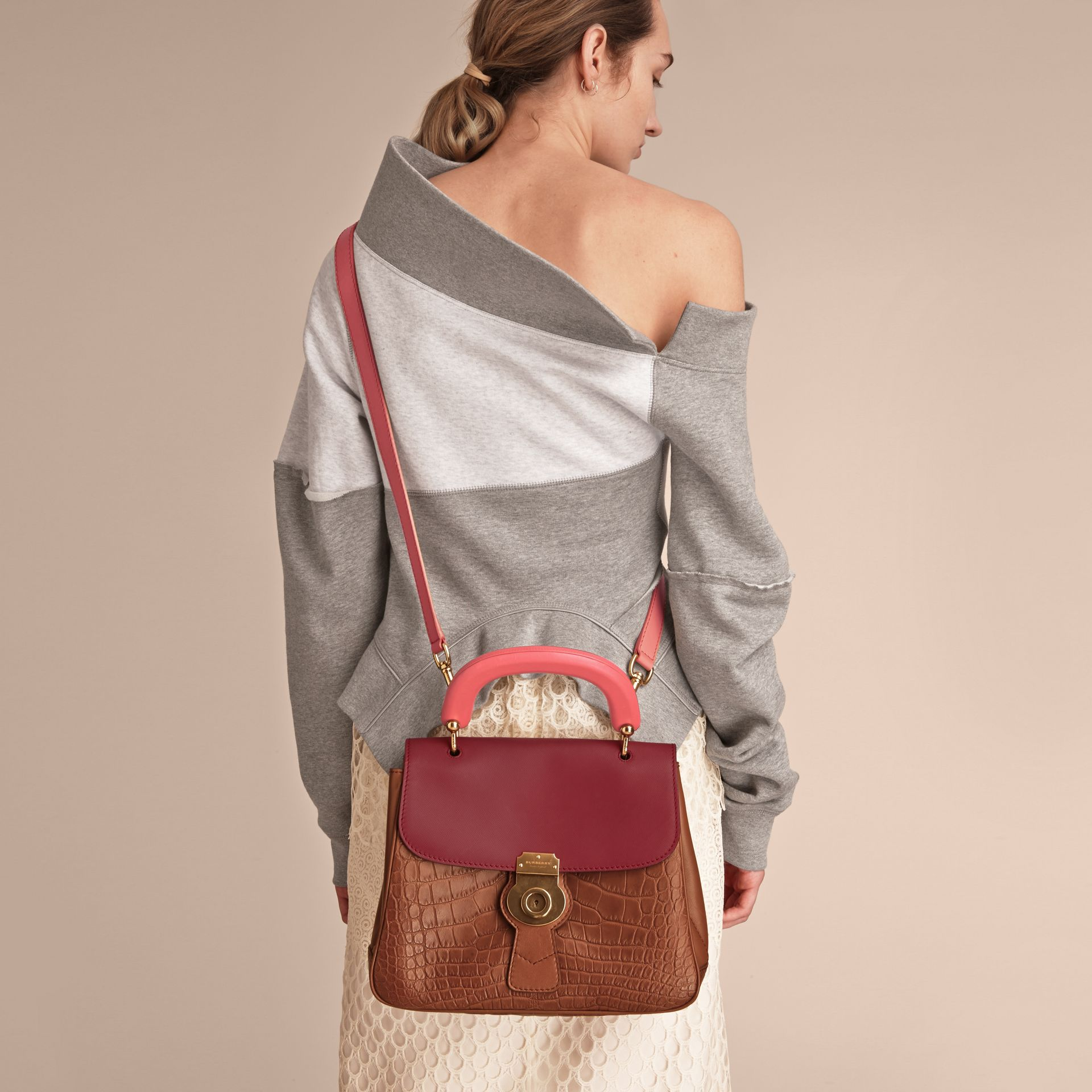 The Medium DK88 Top Handle Bag with Alligator Tan/antique Red - gallery image 5