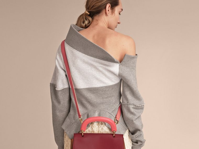 The Medium DK88 Top Handle Bag with Alligator Tan/antique Red - cell image 4