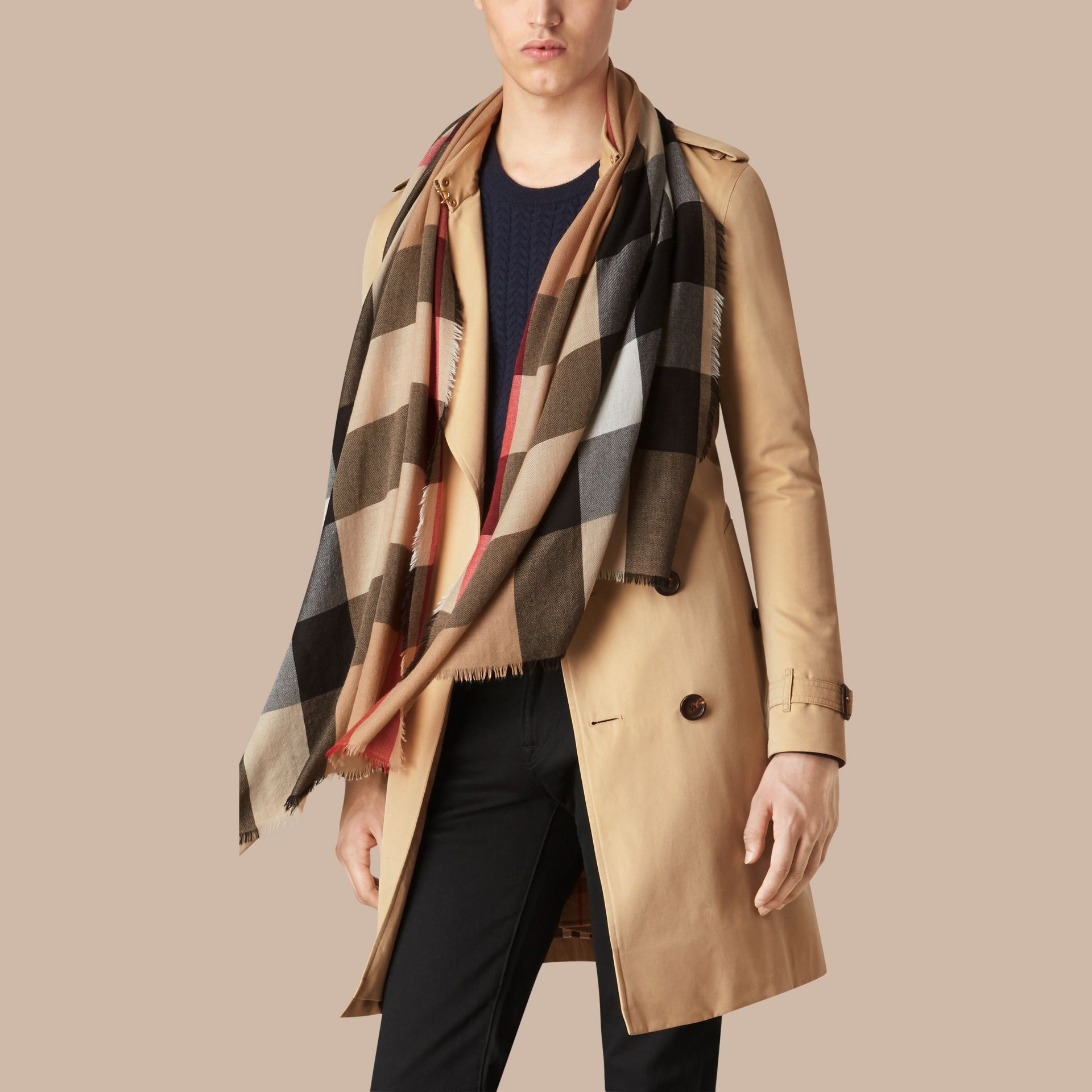 Camel The Lightweight Cashmere Scarf in Check Camel - gallery image 4