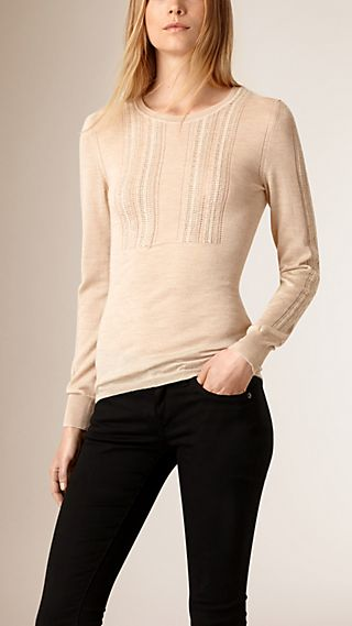 Crochet Detail Cashmere Silk Sweater
