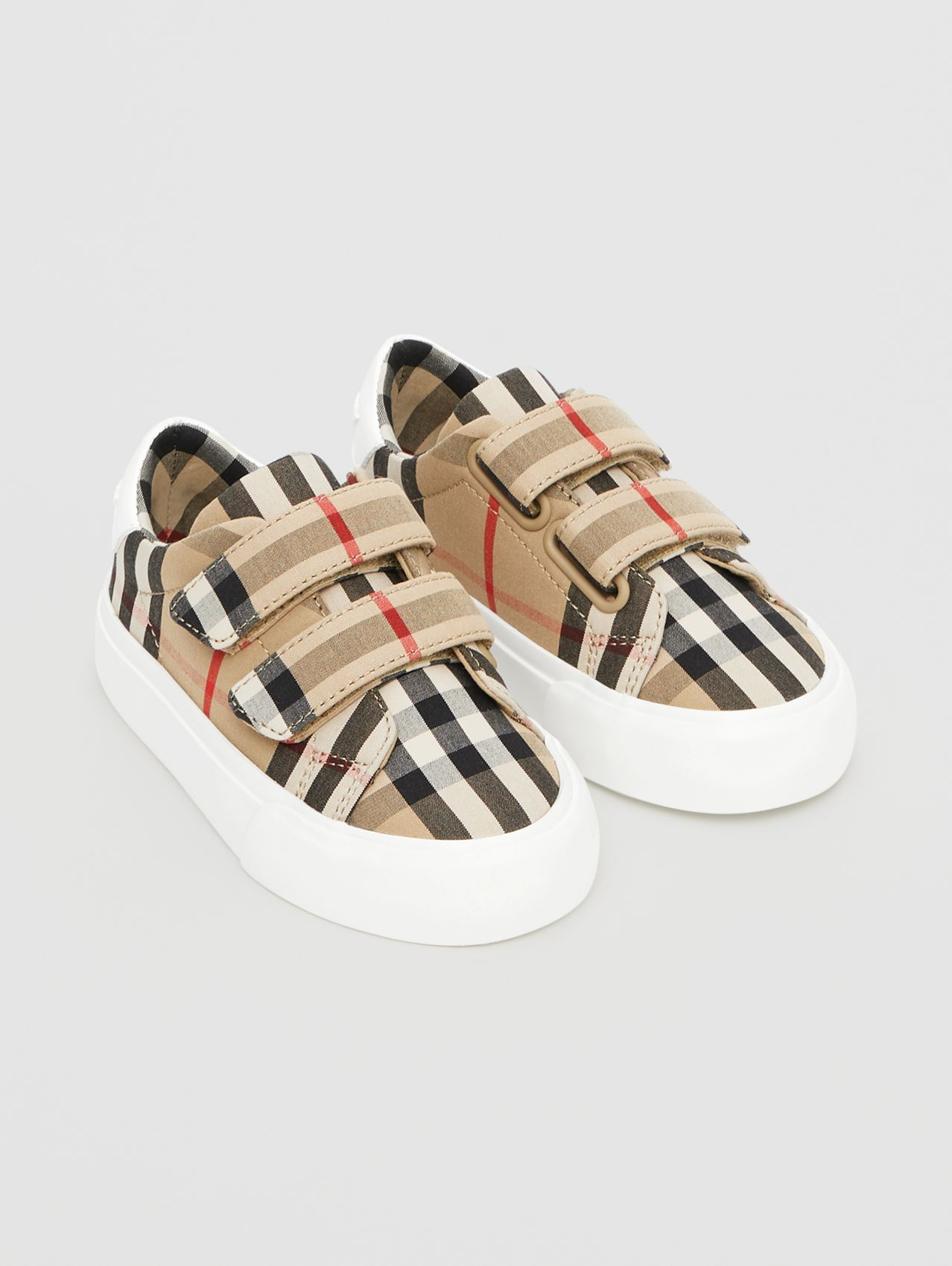 Sneakers en coton Vintage check in Beige D'archive