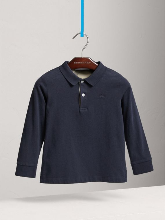 Long-sleeve Cotton Jersey Polo Shirt in True Navy