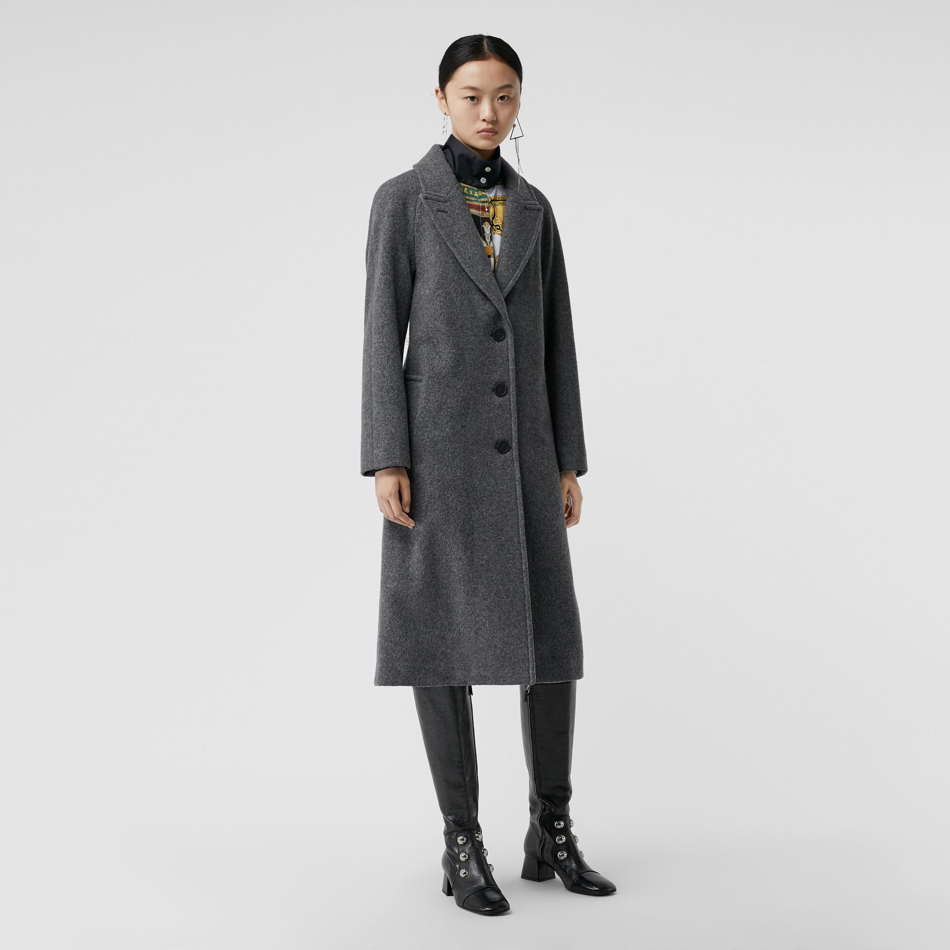 Wool Blend Tailored Coat in Mid Grey Melange - Women | Burberry - gallery image 4
