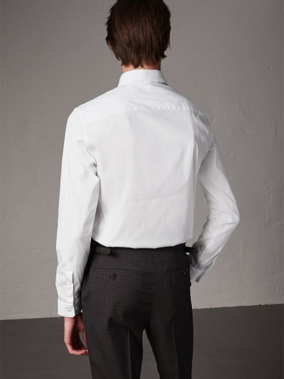 Slim Fit Stretch Cotton Shirt in White - Men | Burberry Canada - cell image 2