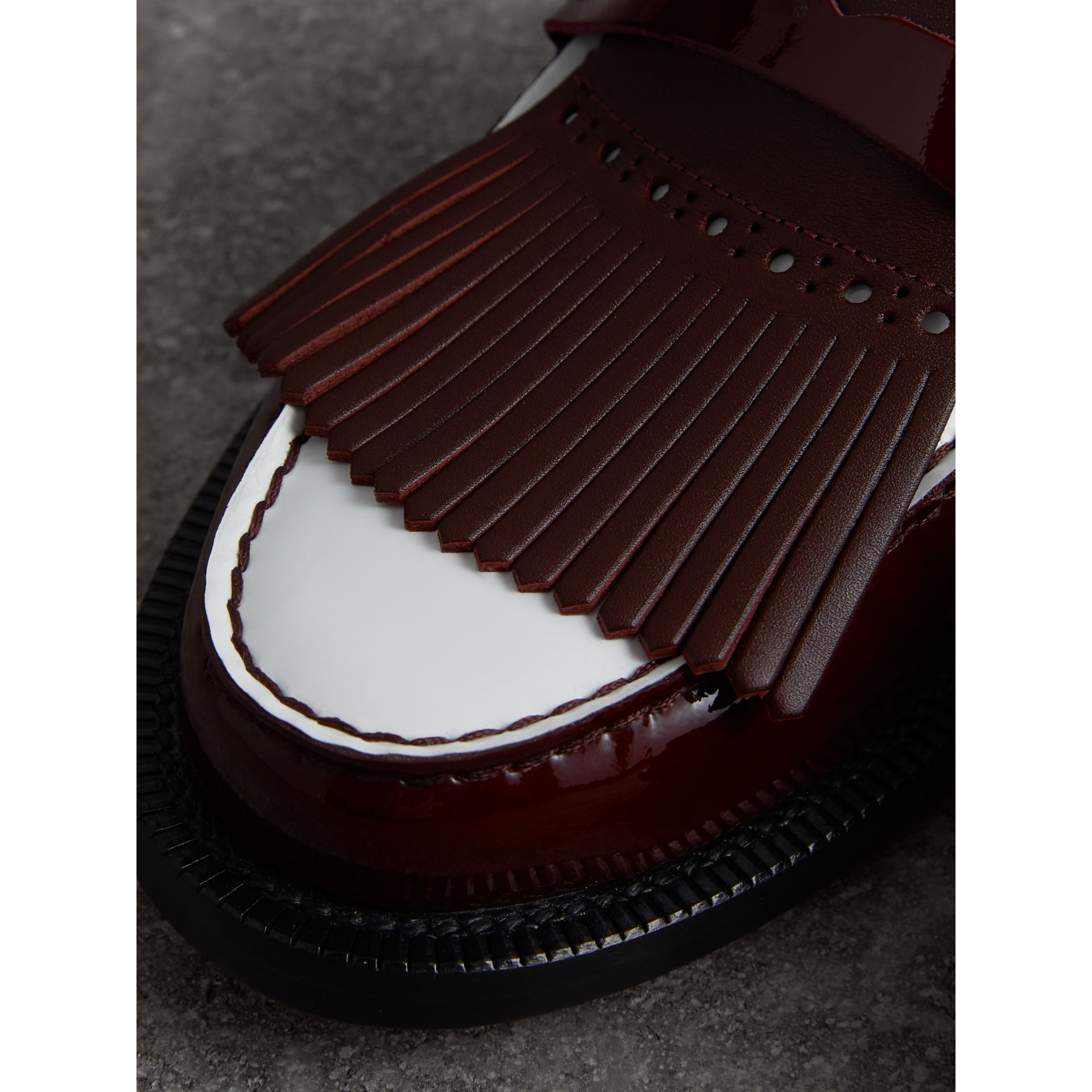 Tri-tone Kiltie Fringe Leather Mules in Burgundy Red - Women | Burberry Canada - gallery image 1