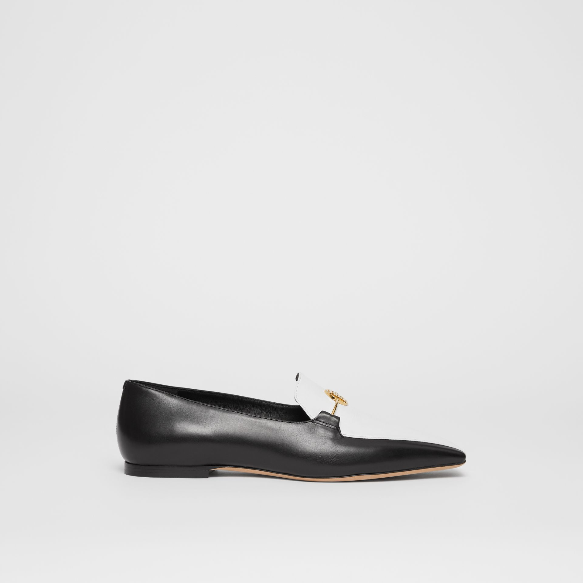 Monogram Motif Two-tone Leather Loafers in Black/white - Women | Burberry United States - gallery image 5