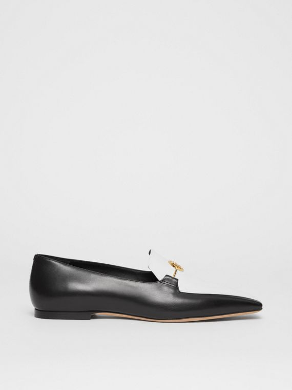 Monogram Motif Two-tone Leather Loafers in Black/white