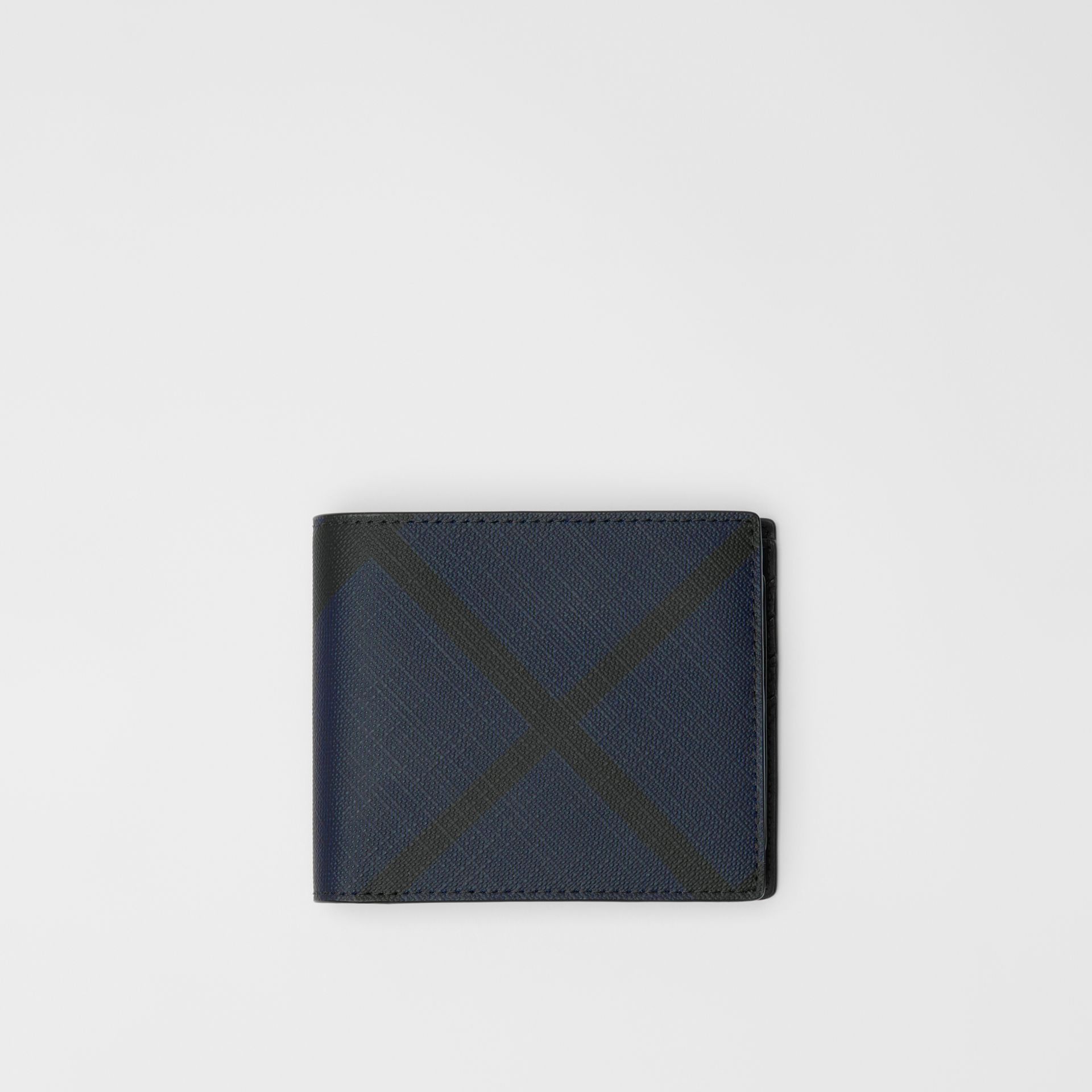 London Check Bifold Wallet with ID Card Case in Navy/black - Men | Burberry - gallery image 0