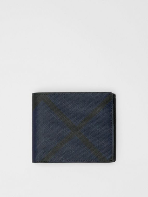 London Check Bifold Wallet with ID Card Case in Navy/black