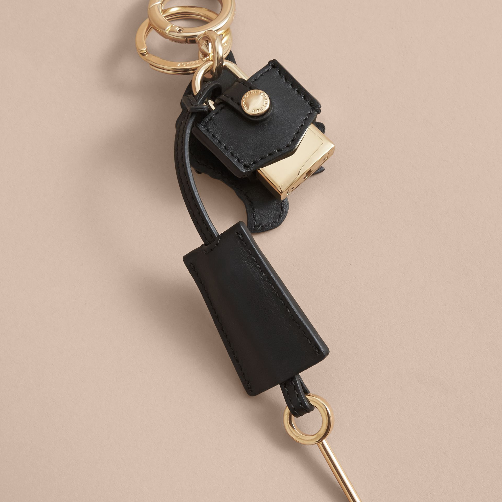 Pallas Helmet Motif Leather Key Charm and Padlock in Black/white - Women | Burberry Australia - gallery image 4