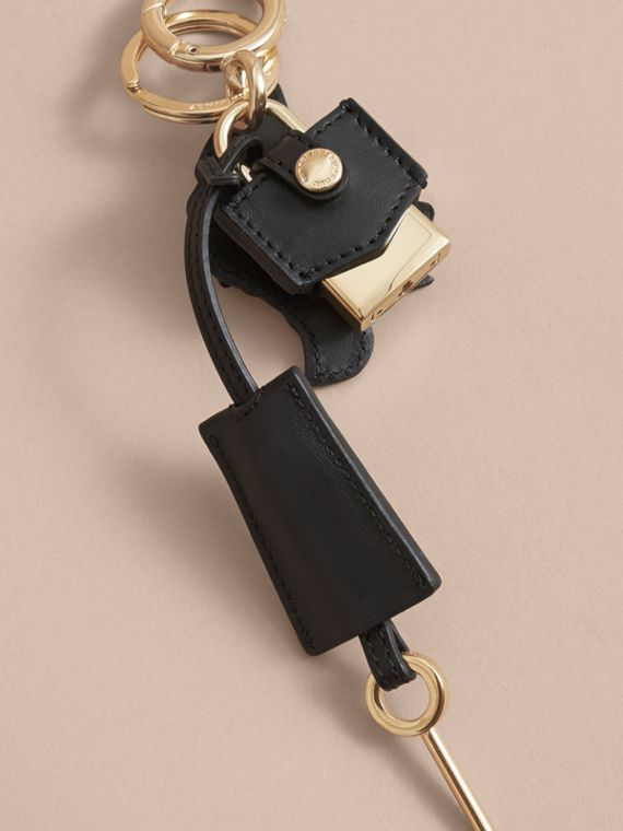 Pallas Helmet Motif Leather Key Charm and Padlock in Black/white - Women | Burberry Australia - cell image 3