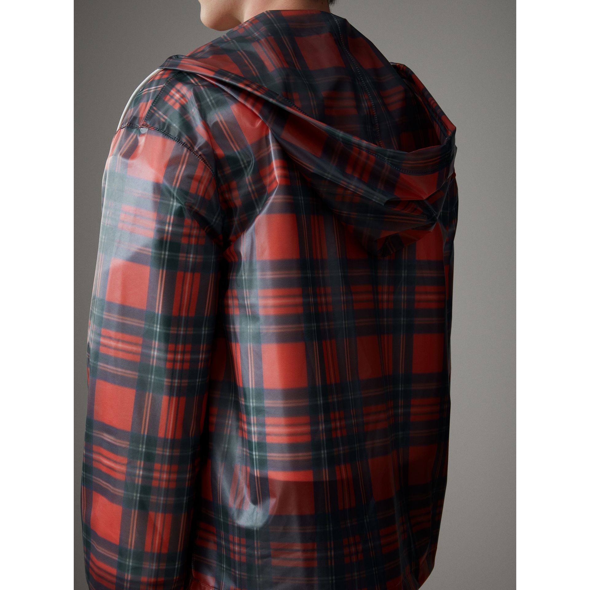 Tartan Soft-touch Plastic Cagoule in Bright Red - Men | Burberry Singapore - gallery image 6