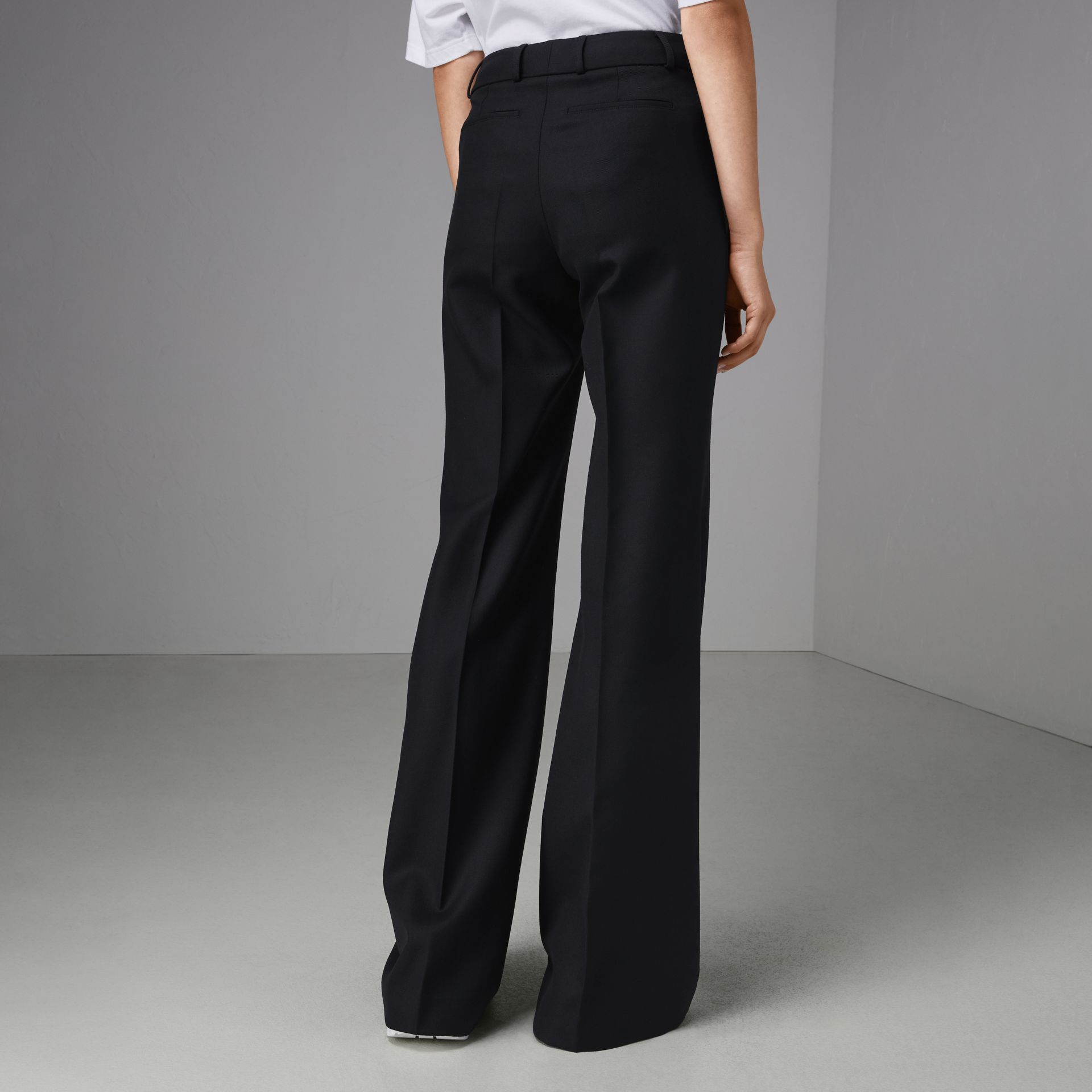 Flared Wool Tailored Trousers in Dark Navy - Women | Burberry Singapore - gallery image 2