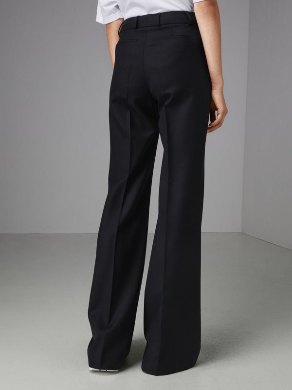 Flared Wool Tailored Trousers in Dark Navy - Women | Burberry Singapore - cell image 2