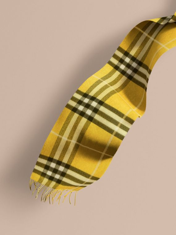 The Classic Cashmere Scarf in Check  Gorse Yellow