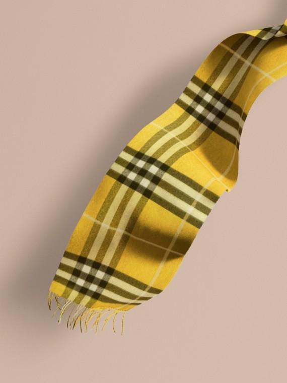 Cachecol clássico de cashmere com estampa xadrez Amarelo Tojo