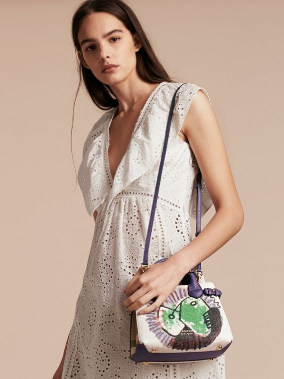 The Baby Banner in Leather with Pallas Heads Print in Dusty Violet - Women | Burberry Singapore - cell image 2