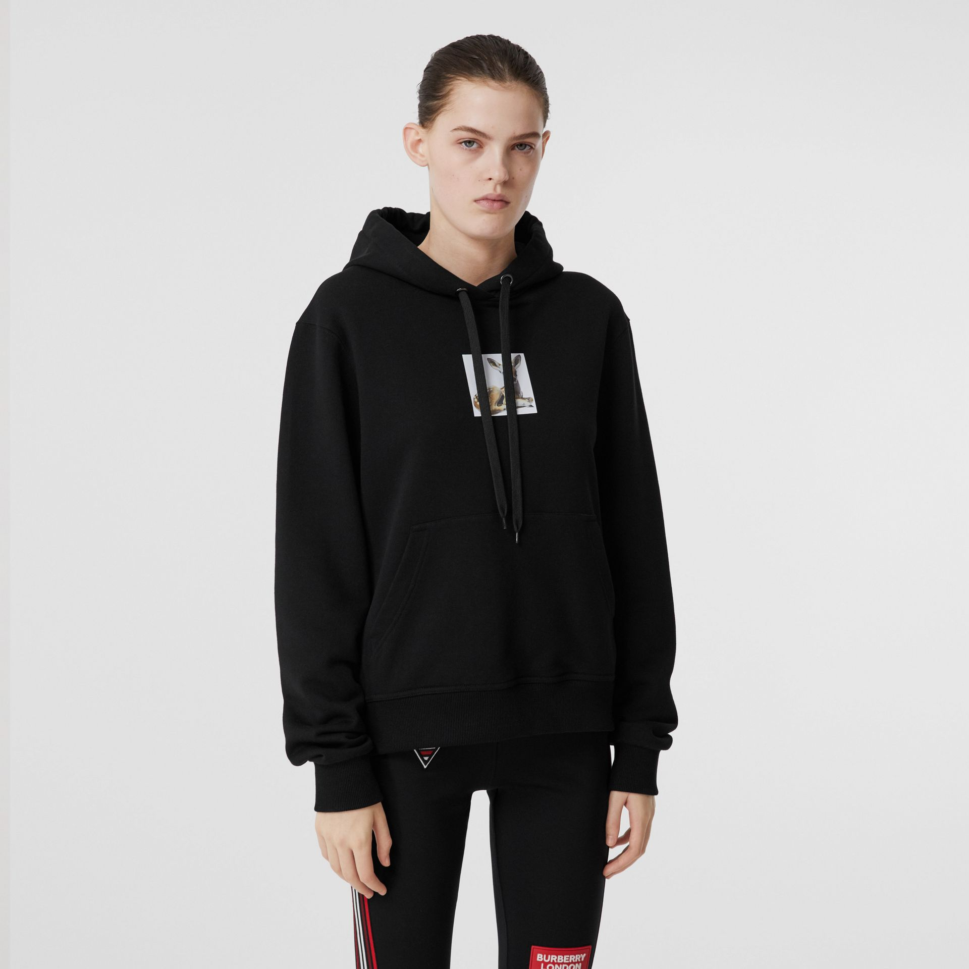 Deer Print Cotton Oversized Hoodie in Black - Women | Burberry - gallery image 5