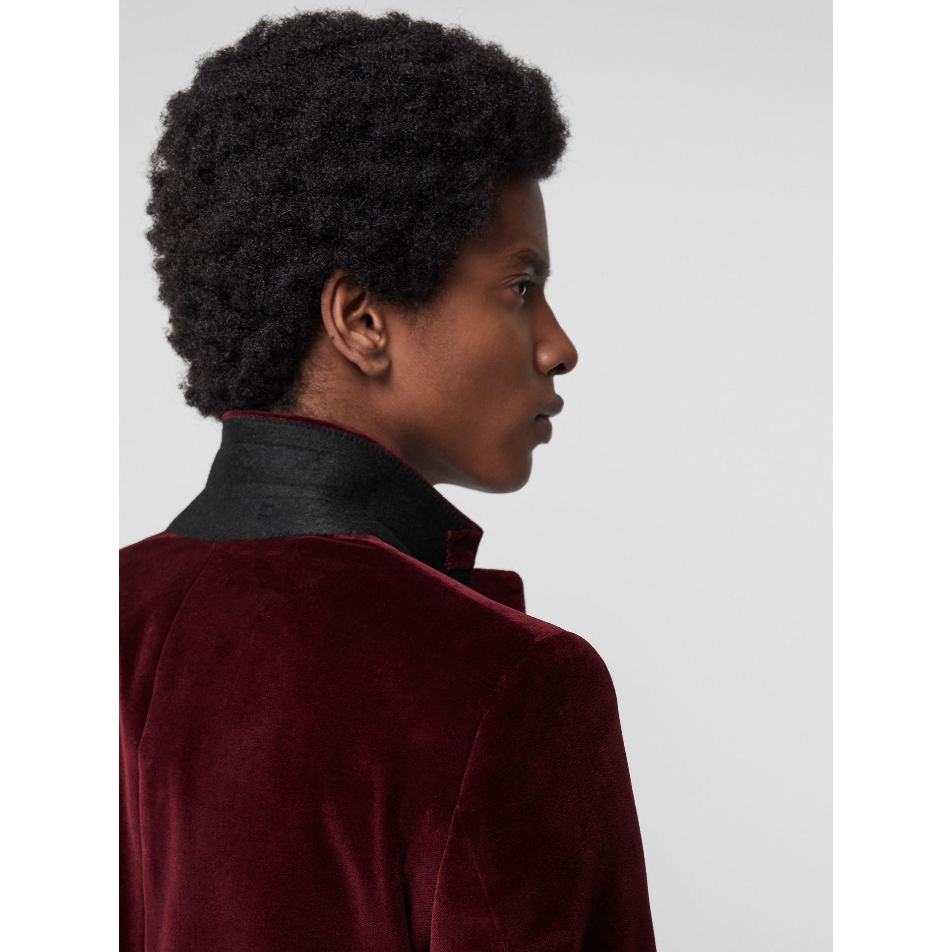 Classic Fit Velvet Tailored Jacket in Burgundy - Men | Burberry - gallery image 4