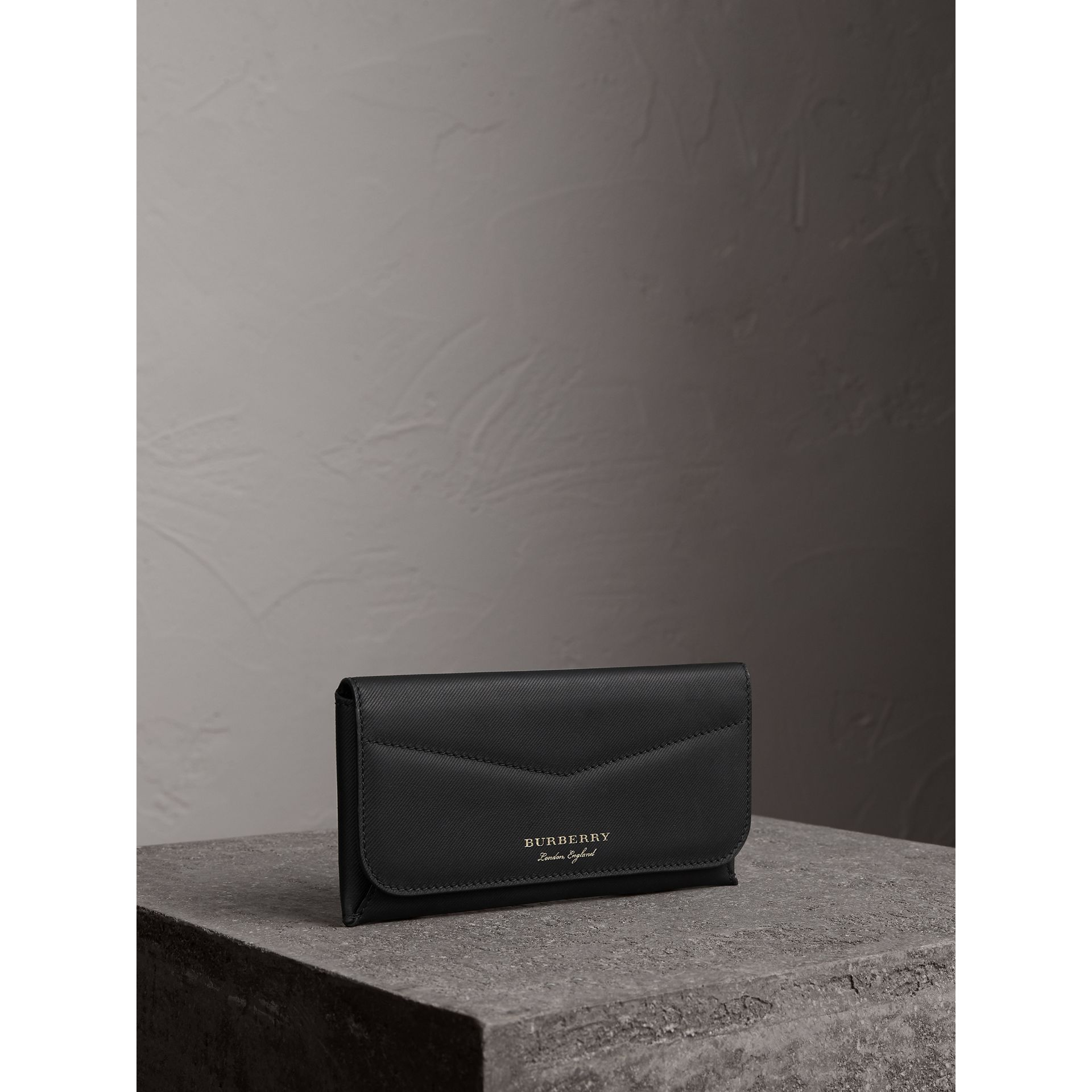 Trench Leather Envelope Wallet in Black - Women | Burberry - gallery image 1