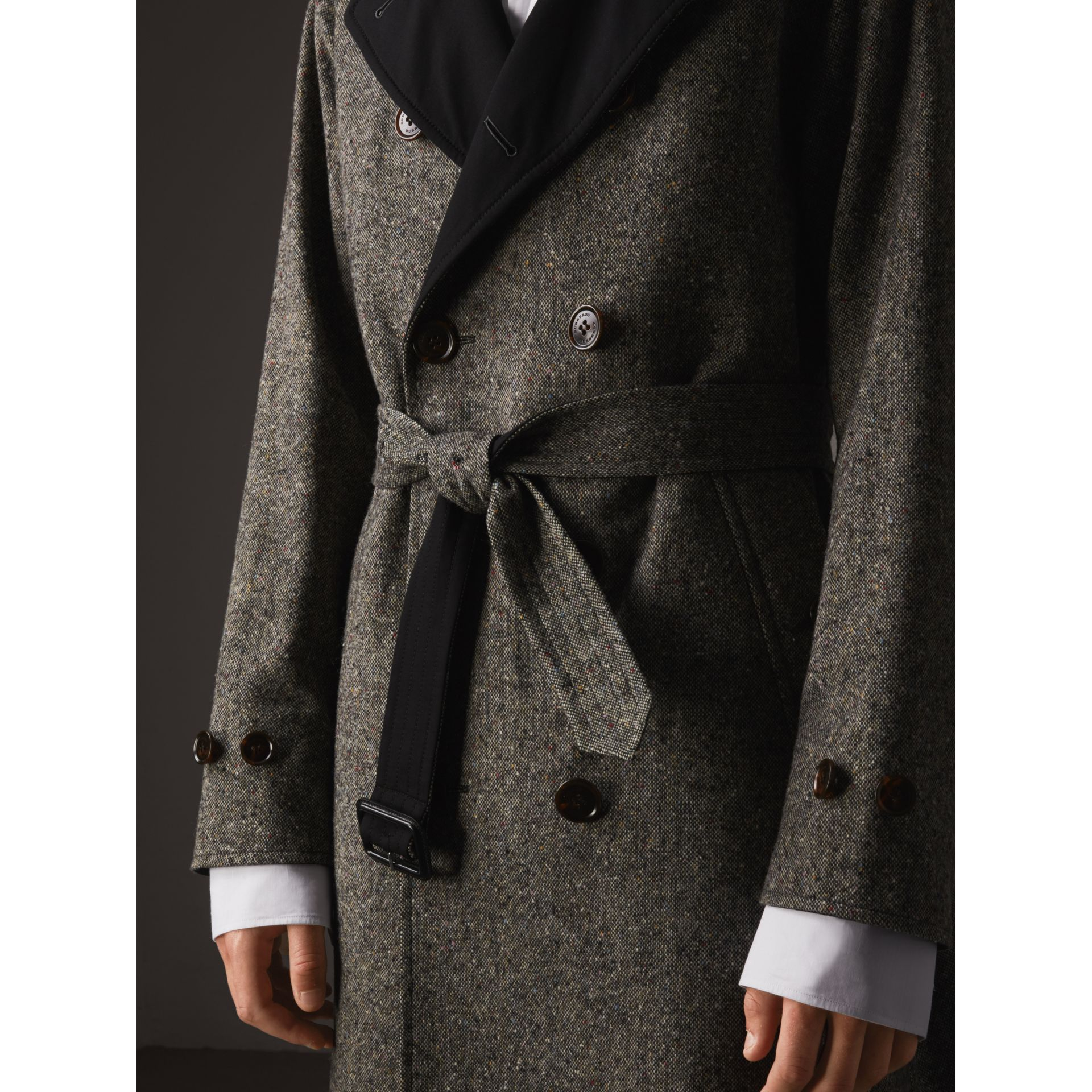 Reversible Donegal Tweed and Gabardine Trench Coat in Black - Men | Burberry - gallery image 2