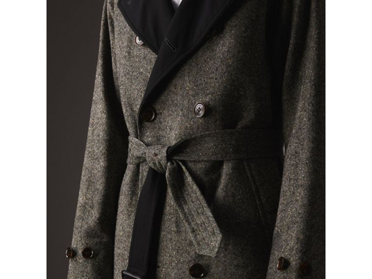 Reversible Donegal Tweed and Gabardine Trench Coat in Black - Men | Burberry - cell image 1