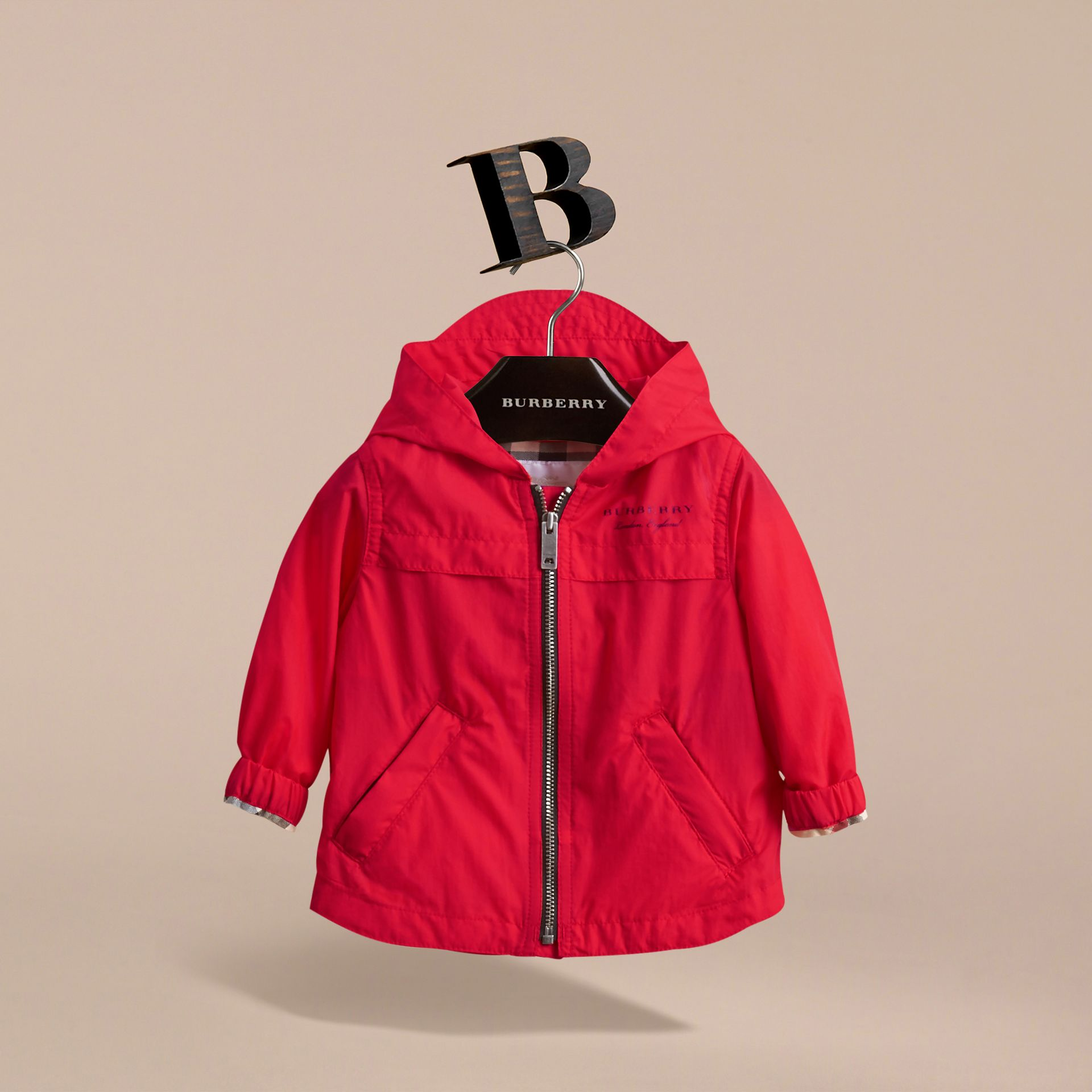Showerproof Hooded Technical Jacket in Vibrant Red | Burberry - gallery image 3