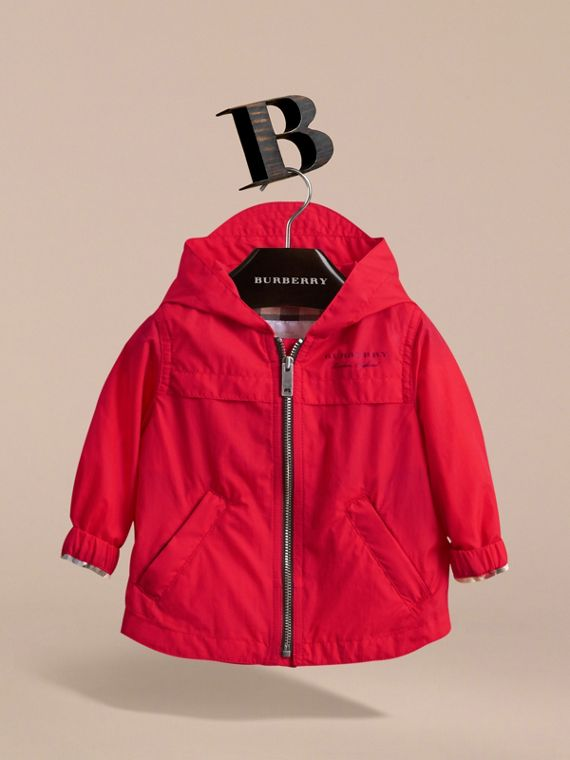 Showerproof Hooded Technical Jacket in Vibrant Red | Burberry - cell image 2