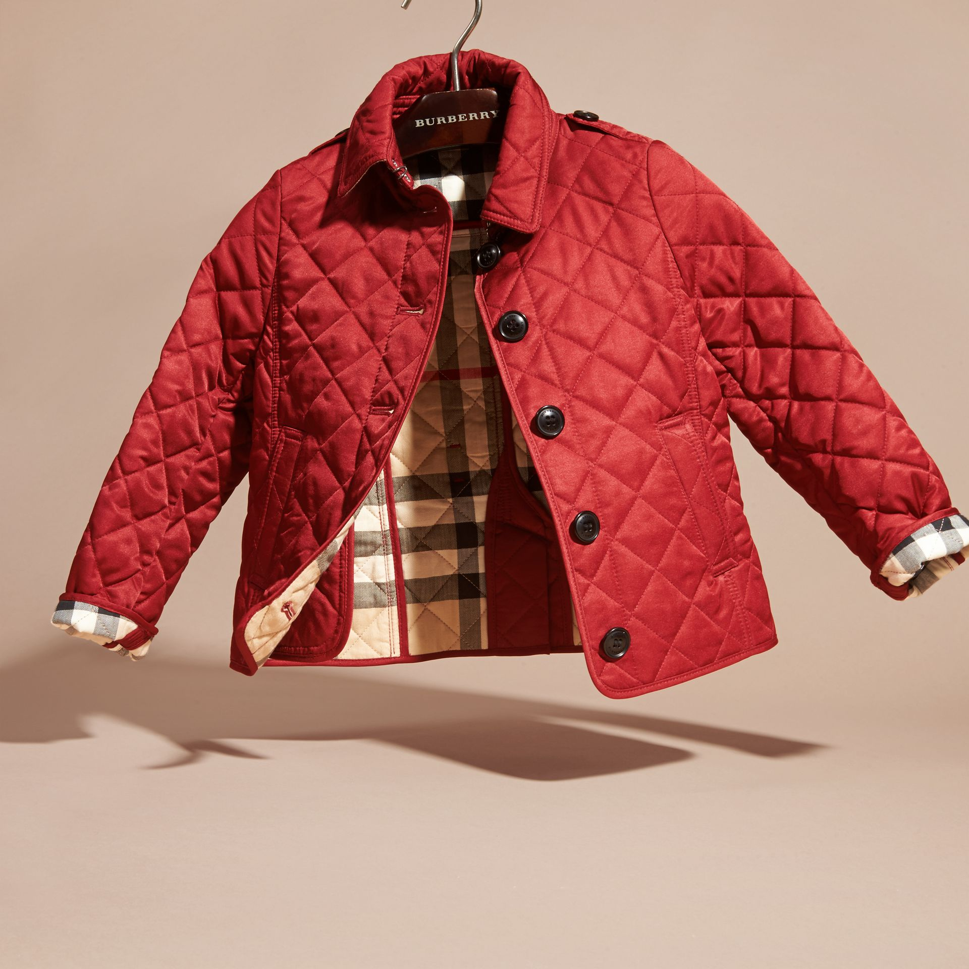 Check Lined Diamond Quilted Jacket in Parade Red | Burberry - gallery image 2