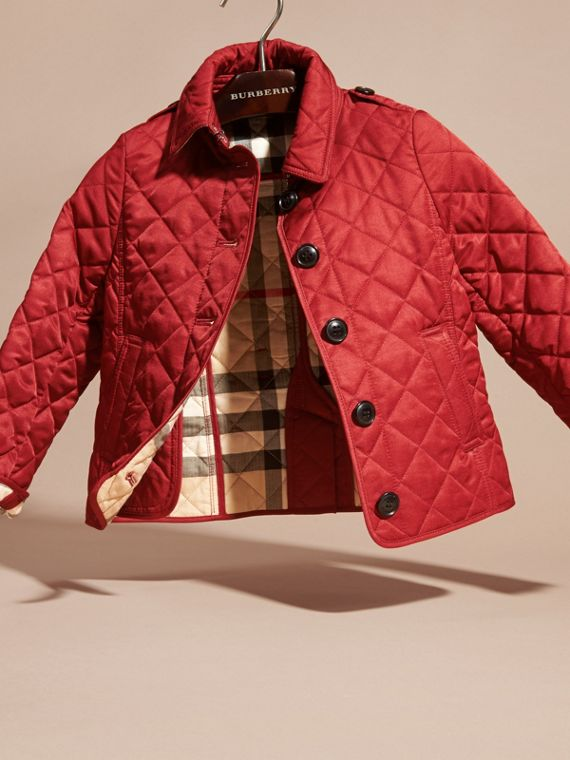 Check Lined Diamond Quilted Jacket in Parade Red - Girl | Burberry - cell image 2