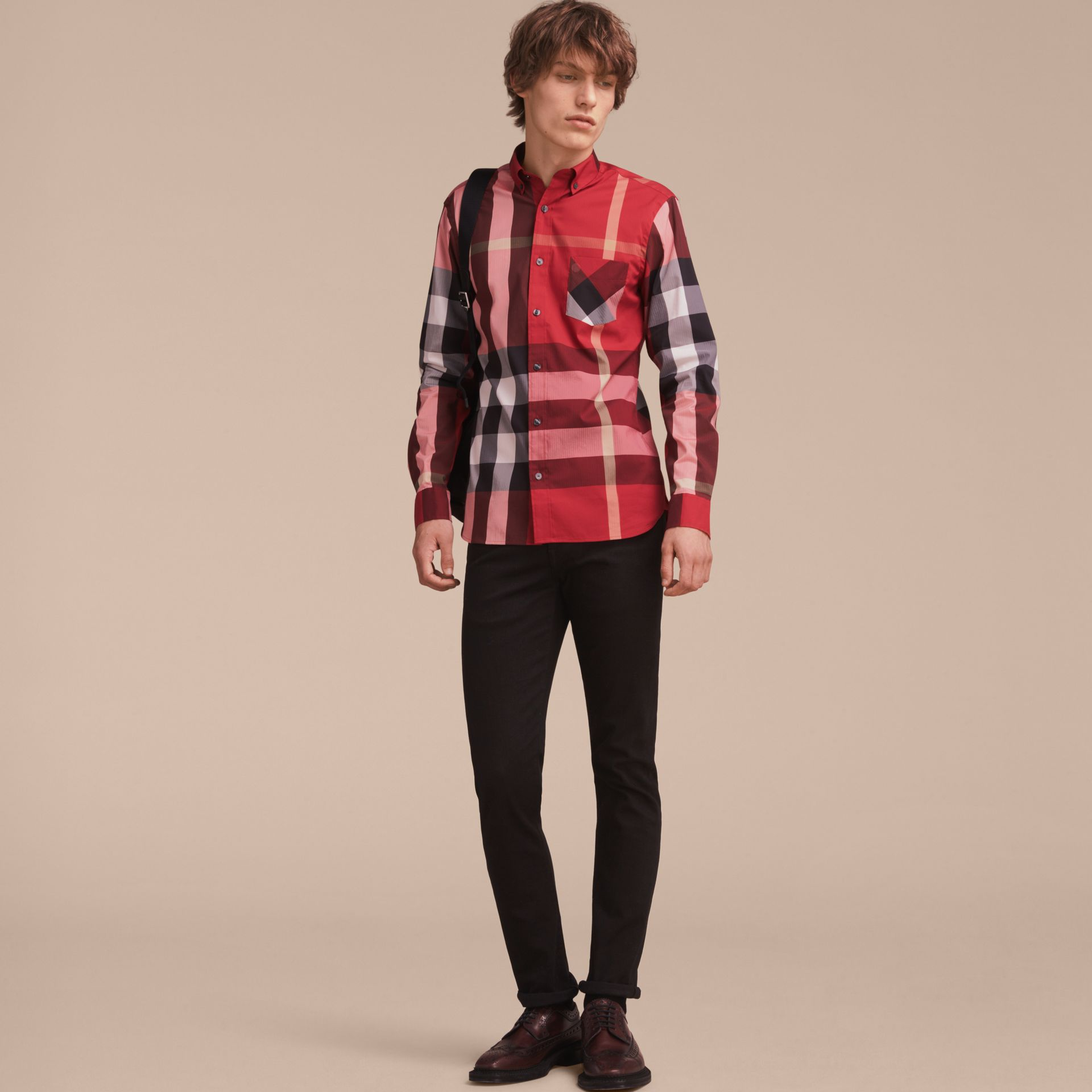 Button-down Collar Check Stretch Cotton Blend Shirt in Parade Red - Men | Burberry - gallery image 6