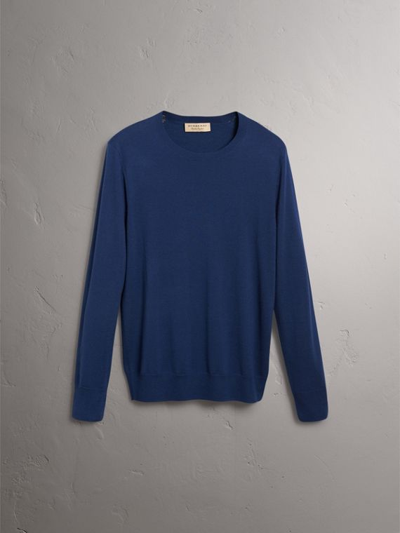 Check Jacquard Detail Cashmere Sweater in Navy - Men | Burberry Singapore - cell image 3