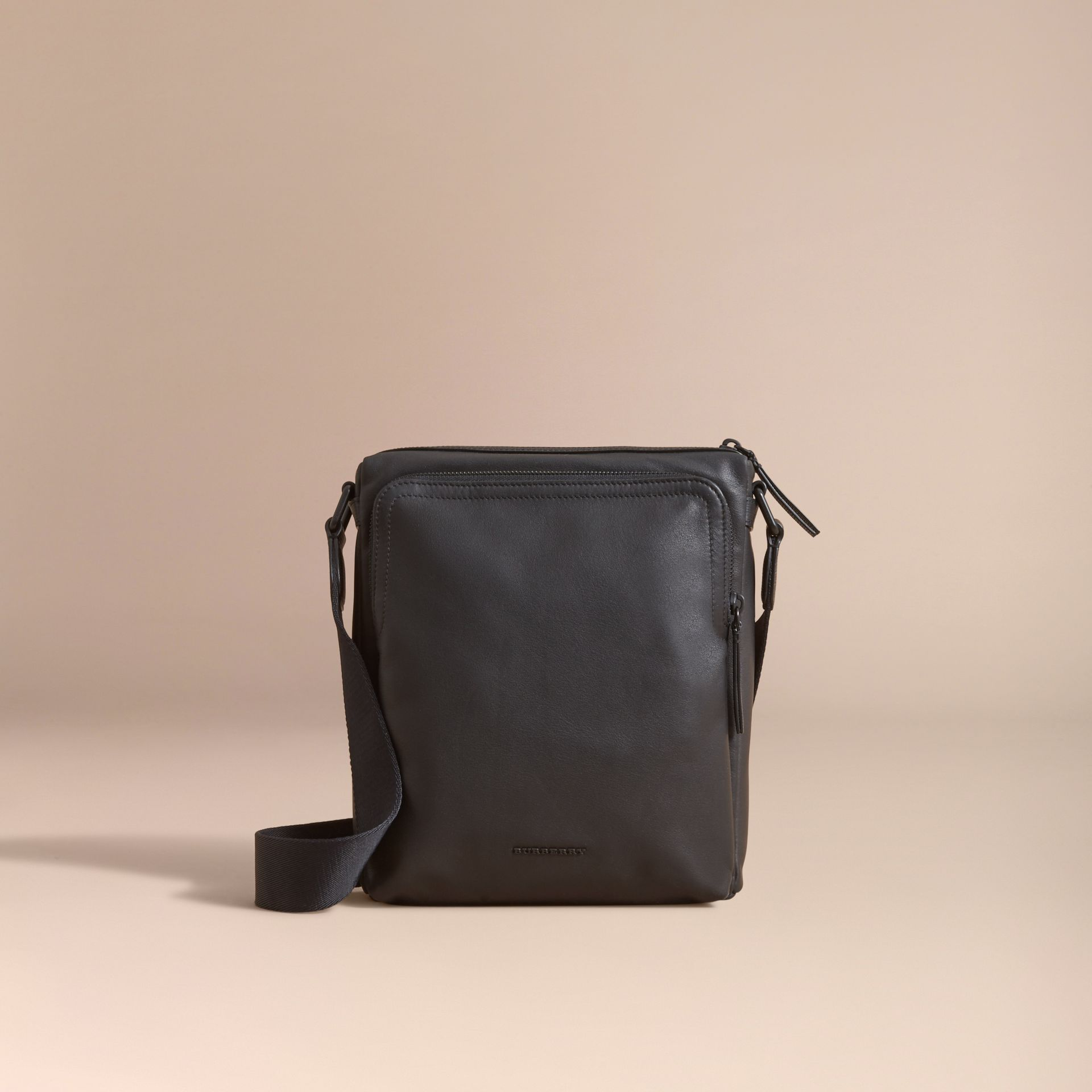 Leather Crossbody Bag in Black - Men | Burberry Australia - gallery image 7