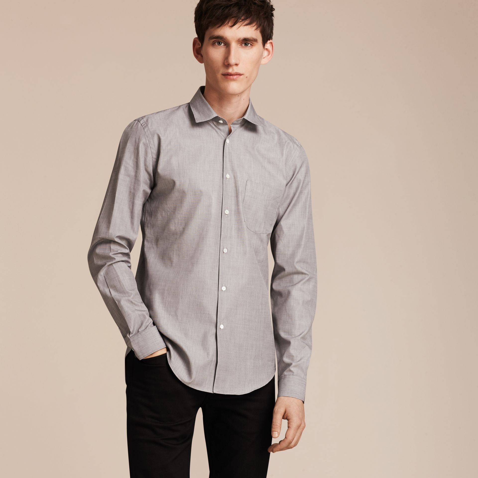 Mid grey Mélange Cotton Shirt Mid Grey - gallery image 6