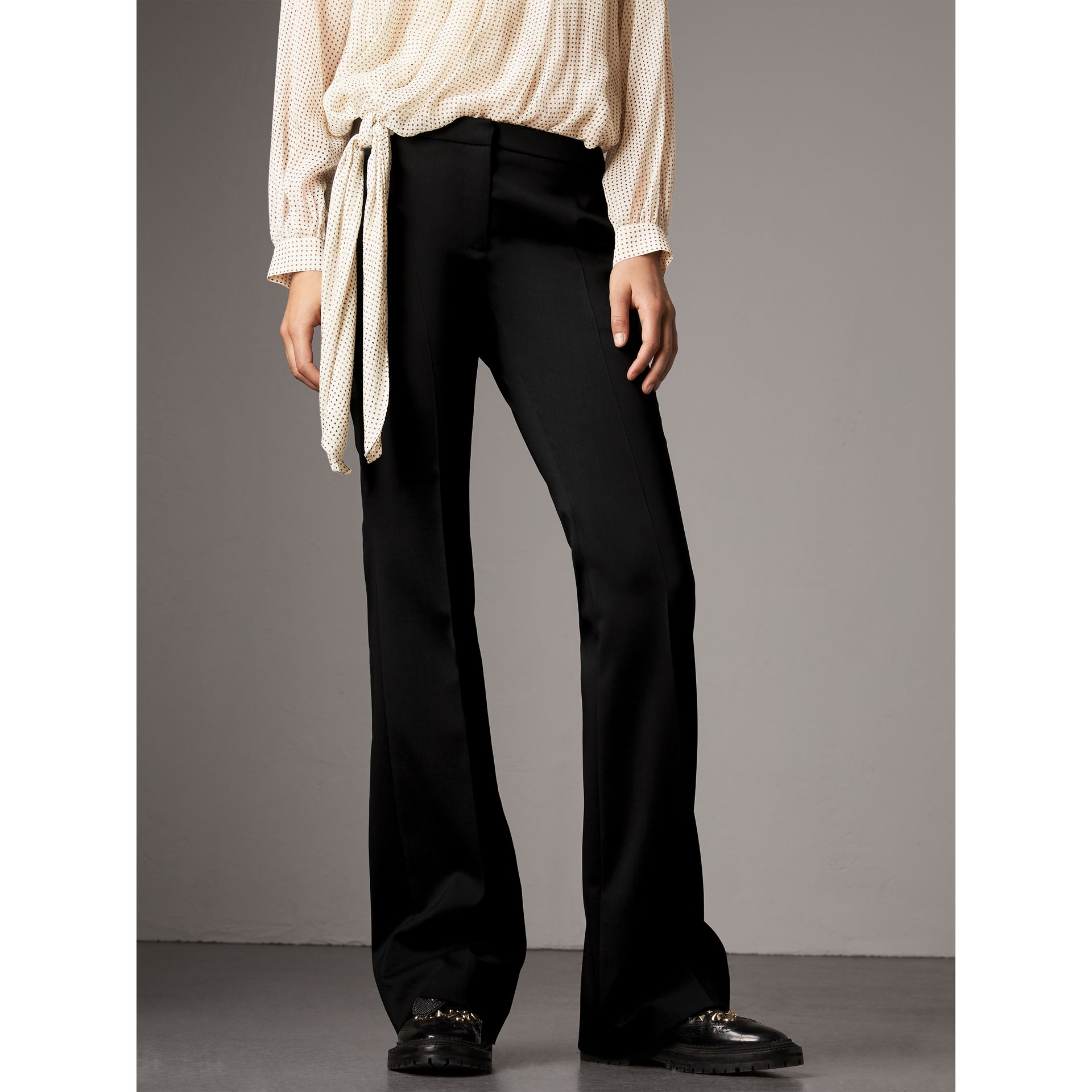 Wide-leg Wool Tailored Trousers in Black - Women | Burberry - gallery image 4
