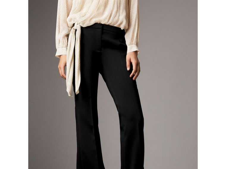 Wide-leg Wool Tailored Trousers in Black - Women | Burberry - cell image 4
