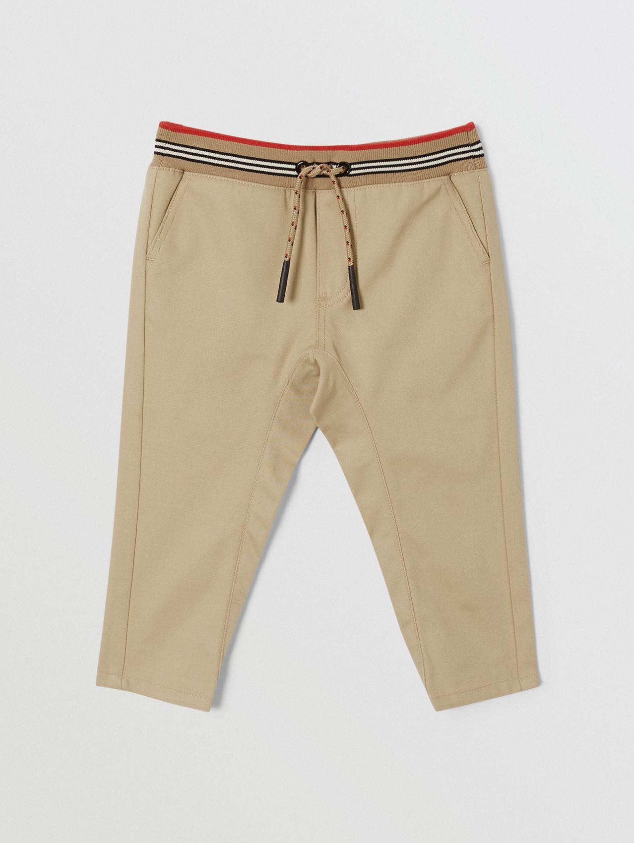 Icon Stripe Detail Cotton Twill Drawcord Trousers (Honey)