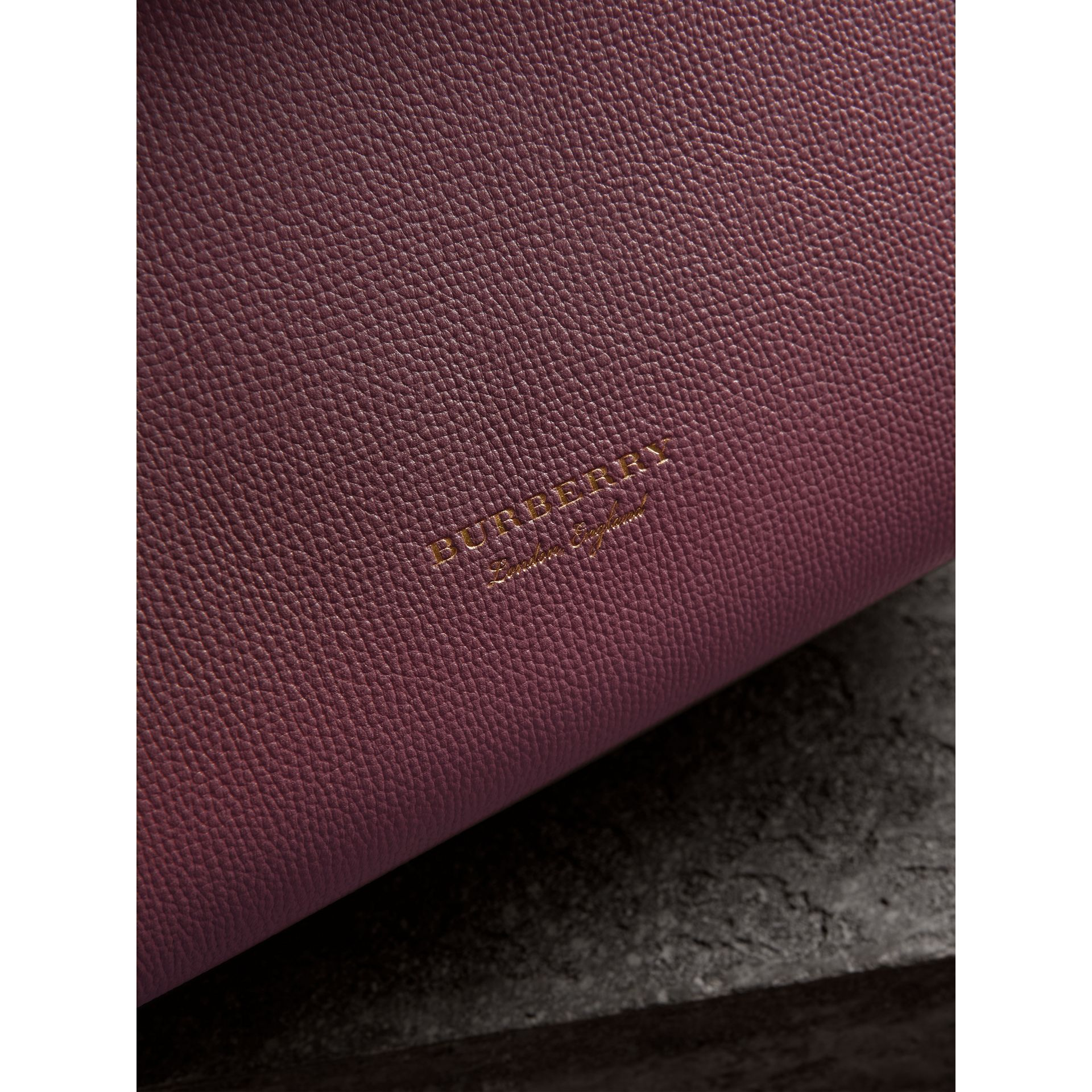 Small Grainy Leather and House Check Tote Bag in Mahogany Red - Women | Burberry - gallery image 1